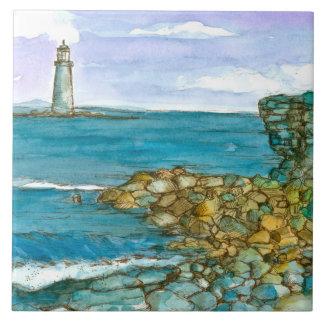 Azulejo Océano rocoso de la costa costa del faro de Maine