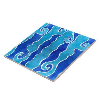 Azulejo Ondas del azul de la aguamarina
