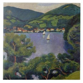 Azulejo Opinión de August Macke del vintage del Tegernsee