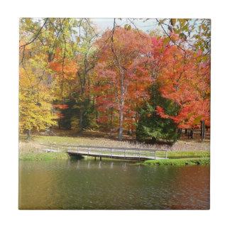Azulejo Paisaje del otoño del puente III de la caída de