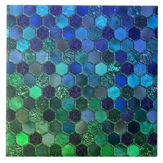 Azulejo Panal de lujo del verde azul del brillo de la hoja