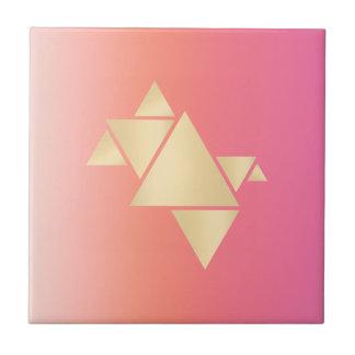 Azulejo Pendiente anaranjada rosada geométrica del oro