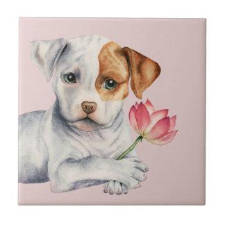 Azulejo Perrito del pitbull que celebra la pintura de la