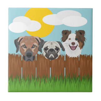 Azulejo Perros afortunados del ilustracion en una cerca de