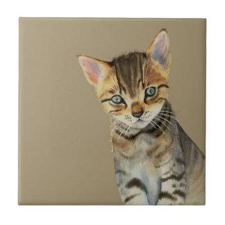 Azulejo Pintura de la acuarela del gatito de Shorthair del