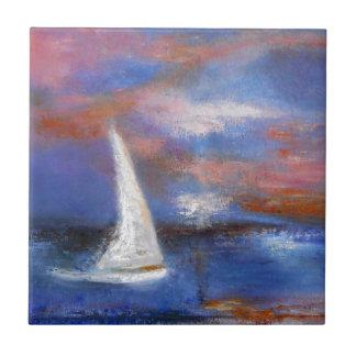 Azulejo Pintura del paisaje marino de la vela del puerto