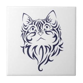 Azulejo Plantilla delantera de la cara del gatito del gato