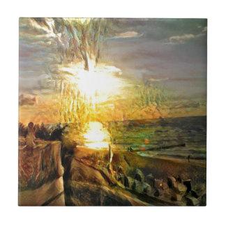 Azulejo Puesta del sol en la playa