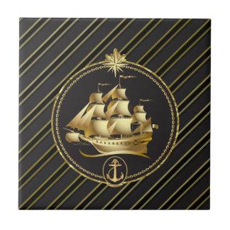 Azulejo Rayas metálicas de oro del oro del velero y del