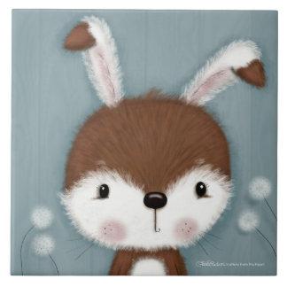 Azulejo Retrato del conejito del arbolado