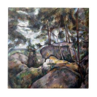 Azulejo Rocas de Paul Cezanne en el bosque