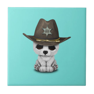 Azulejo Sheriff lindo de Cub del oso polar del bebé