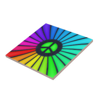 Azulejo Símbolo de paz del arco iris
