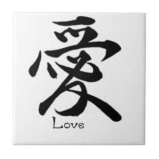 Azulejo Símbolo japonés del kanji de la caligrafía del