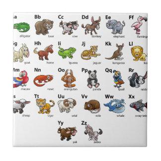 Azulejo Sistema animal de la carta del alfabeto del dibujo