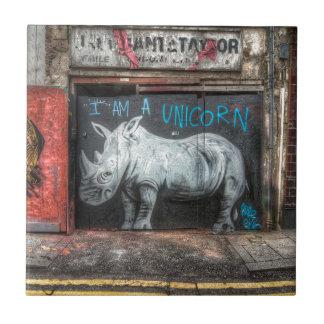 Azulejo Soy un unicornio, pintada de Shoreditch (Londres)