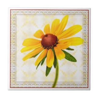 Azulejo Susan Negro-Observada fotografía floral enmarcada