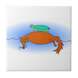 Azulejo Tortuga acuática que flota en un zorro