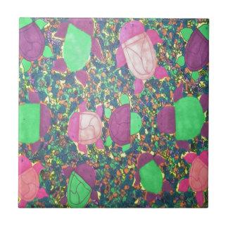 Azulejo Tortugas del arco iris en las rocas