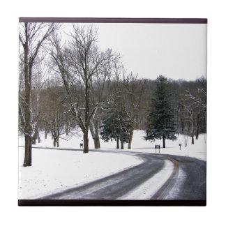 Azulejo Una impulsión fría de la tarde del invierno