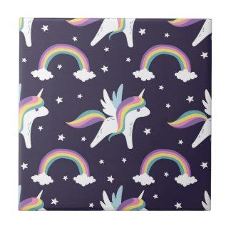 Azulejo Unicornio de hadas lindo + fondo del azul de los