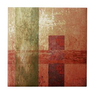Azulejo Verde anaranjado rojo geométrico del Grunge del