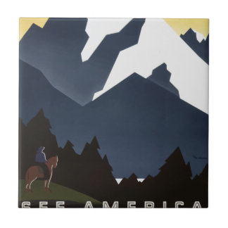Azulejo Viaje Montana América los E.E.U.U. del vintage