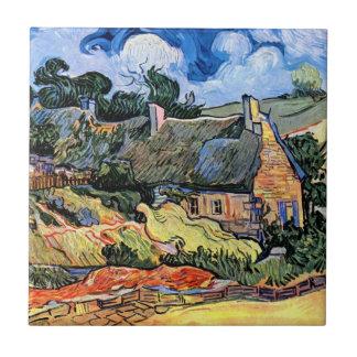 Azulejo Vincent van Gogh - cabañas cubiertas con paja en