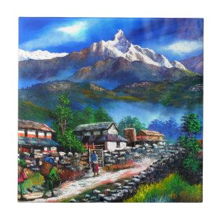 Azulejo Vista panorámica de la montaña Nepal de Everest