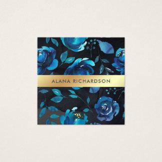 Azules añiles florales con falsa mirada del oro tarjeta de visita cuadrada