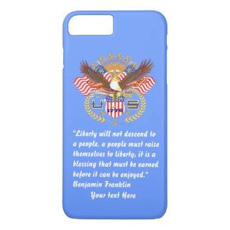 Azules cielos patrióticos de la paz de la libertad funda iPhone 7 plus