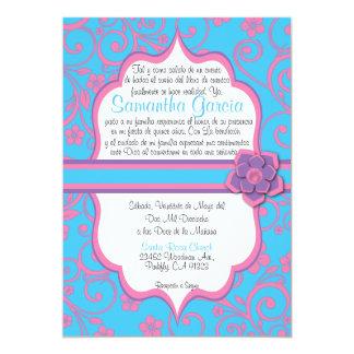 Azules cielos y español rosa claro Quinceañera Invitación 12,7 X 17,8 Cm