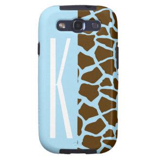 Azules cielos y estampado de animales de la jirafa galaxy SIII fundas