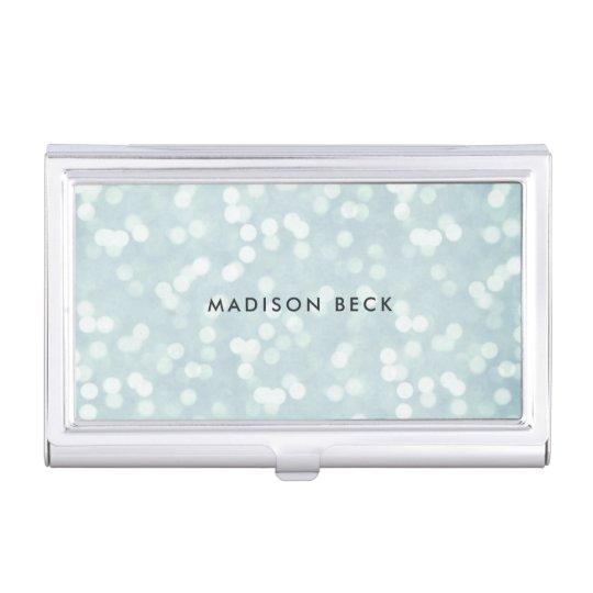 Azules claros Bokeh personalizado Caja Para Tarjetas De Visita