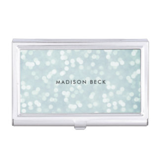Azules claros Bokeh personalizado Cajas De Tarjetas De Presentación