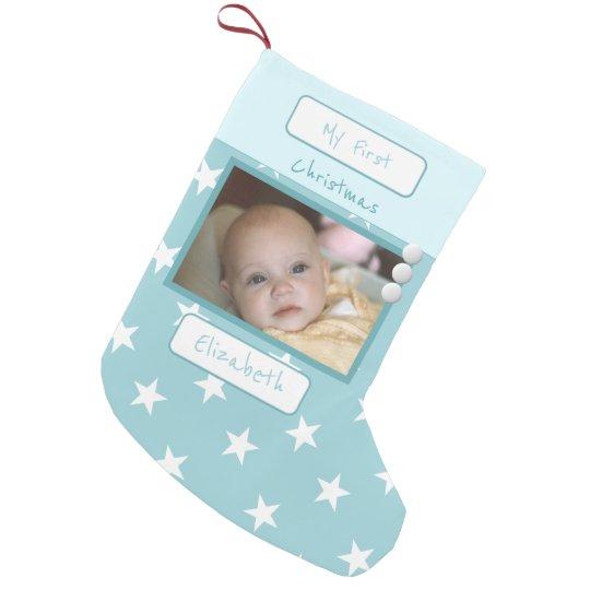 Azules claros con las estrellas mi primera foto calcetín navideño pequeño