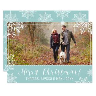 Azules claros de las Felices Navidad y foto Invitación 12,7 X 17,8 Cm
