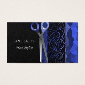 Azules color de rosa y negros femeninos scissor tarjeta de visita