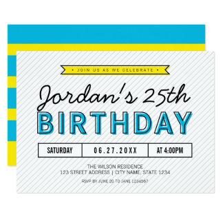 Azules coloridos y amarillean cualquier cumpleaños invitación 12,7 x 17,8 cm