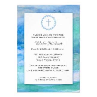 Azules de la acuarela, religiosos invitación 12,7 x 17,8 cm