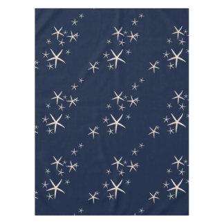 Azules marinos blancos de las estrellas de mar mantel