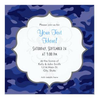 Azules marinos Camo, camuflaje Invitación 13,3 Cm X 13,3cm