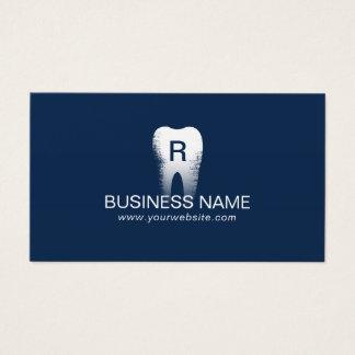 Azules marinos de la inicial del diente del tarjeta de negocios