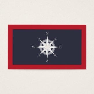 Azules marinos del compás y náutico rojo tarjeta de visita