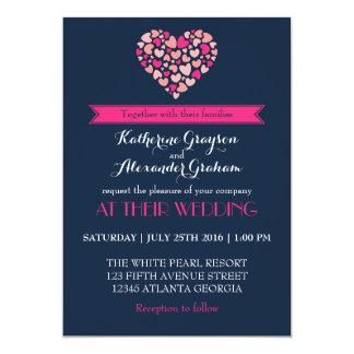 Azules marinos e invitación rosada del boda del