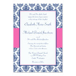 Azules marinos e invitaciones rosadas del boda del invitaciones personales