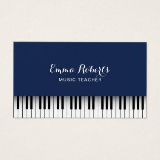 Azules marinos elegantes de los teclados de piano tarjeta de negocios