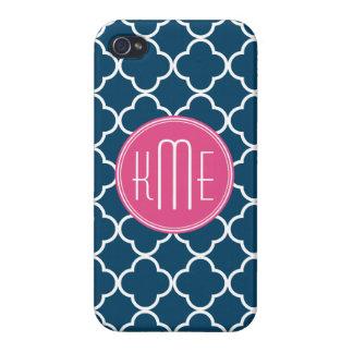 Azules marinos elegantes Quatrefoil con el monogra iPhone 4 Funda