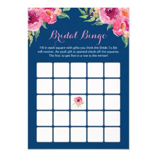 Azules marinos florales de la ducha del bingo del invitación 12,7 x 17,8 cm