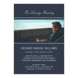 Azules marinos mínimos en foto de encargo cariñosa invitación 12,7 x 17,8 cm